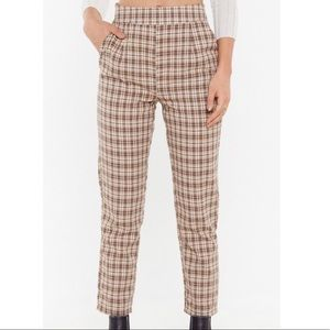 Nasty Gal Check It Out Tapered High Waisted Pants